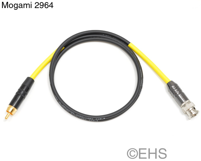 mogami 2964 75ohm coax cable  bnc  rca  or f