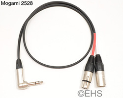 Mogami 2528 Insert Cable with XLRs and Right Angle TRS, EHS-Built